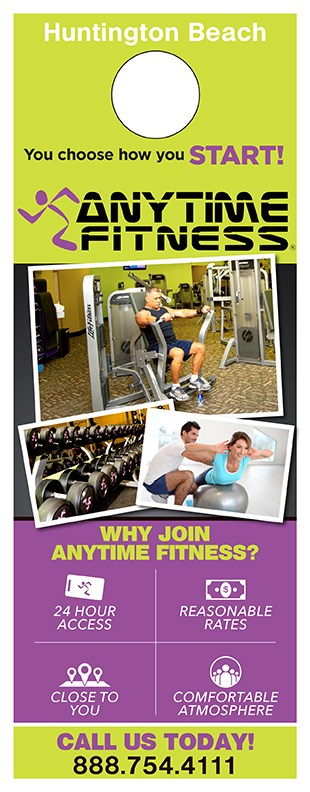 Fitness Door Hanger Samples Show the Power of Targeted Marketing anytime fitness sc 0516